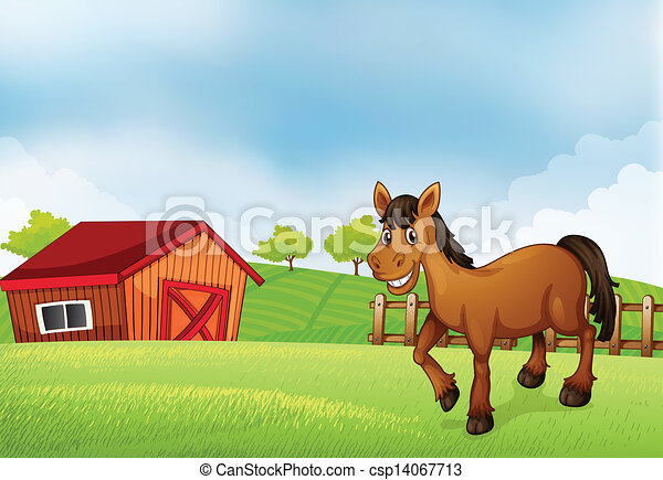 A Horse At The Farm With Barn Back Vector