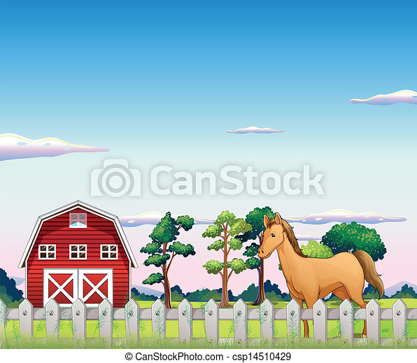 A Horse Inside The Fence With Barn Vector