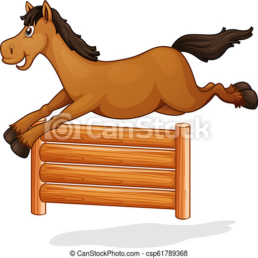A horse jump on wooden fence - csp61789368