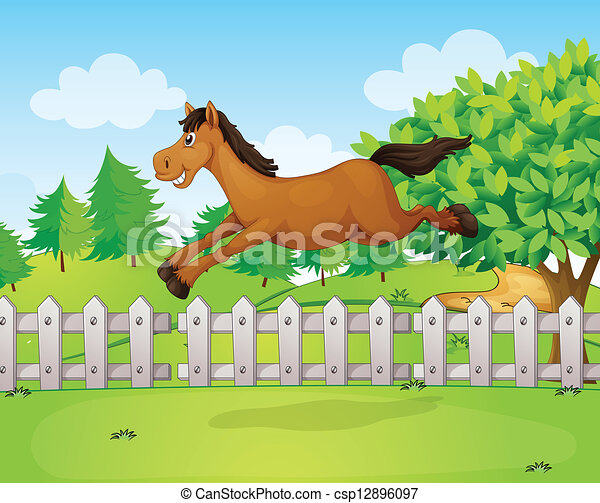 A horse jumping over the fence - csp12896097