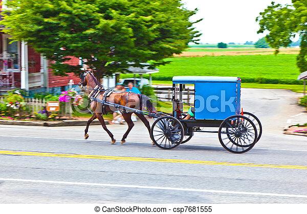 A horse pulling a cart across a beautiful Saskatchewan landscape - csp7681555