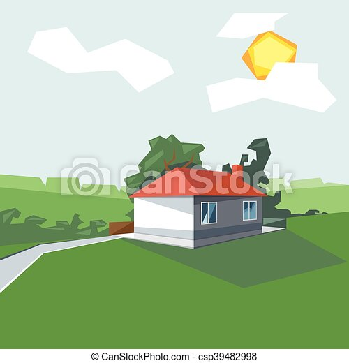 A house in 1 floor, view from persp - csp39482998