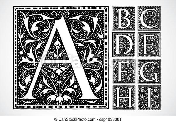 a-i, alfabeto, vetorial, ornate - csp4033881