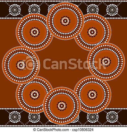 A illustration based on aboriginal style of dot painting depicting circle - csp10806324