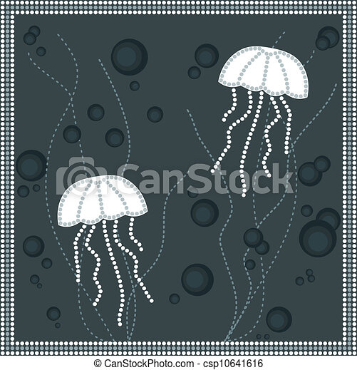 A illustration based on aboriginal style of dot painting depicting jellyfish - csp10641616