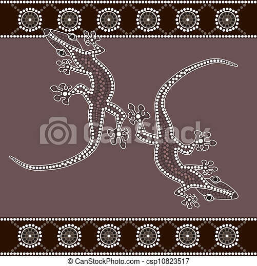 A illustration based on aboriginal style of dot painting depicting lizard - csp10823517