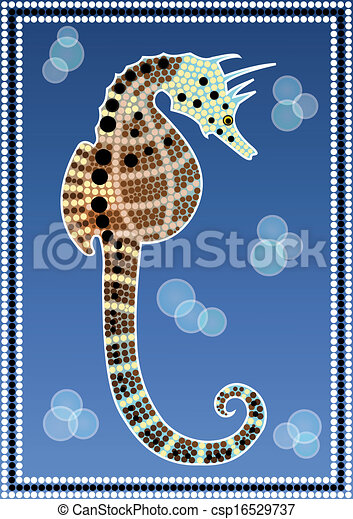 A illustration based on aboriginal style of dot painting depicting Seahorse  - csp16529737