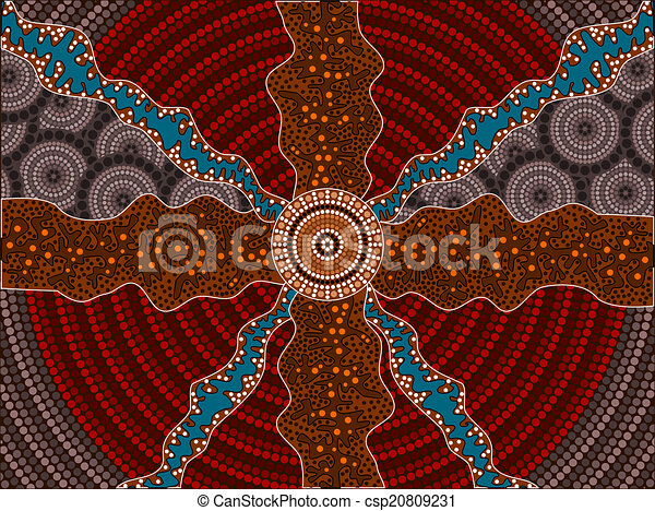 A illustration based on aboriginal style of dot painting depicti - csp20809231