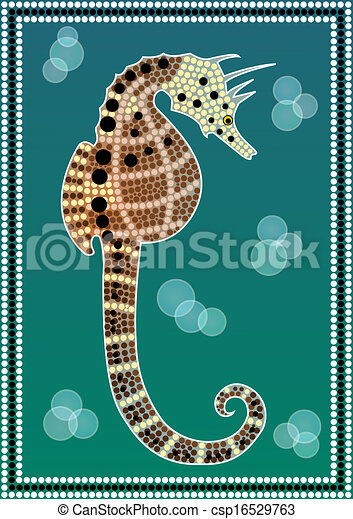 A illustration based on aboriginal style of dot painting depicting Seahorse  - csp16529763