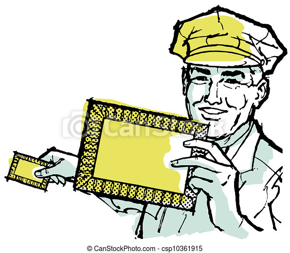 a illustration of a delivery driver holding a blank letter clipart