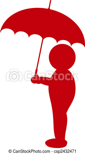 a illustration of a silhouette with umbrella - csp2432471