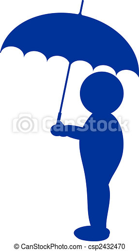 a illustration of a silhouette with umbrella - csp2432470