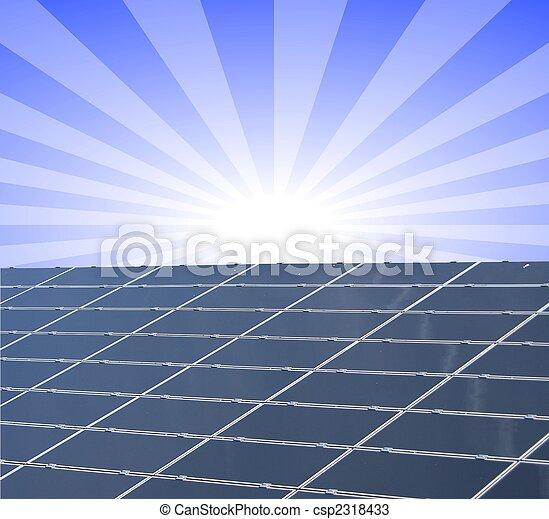 a illustration of a solar panel against blue sunny sky - csp2318433