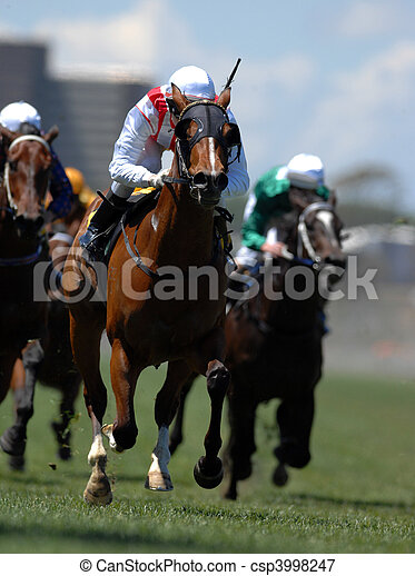 A jockey in action during on a horse during a race. - csp3998247