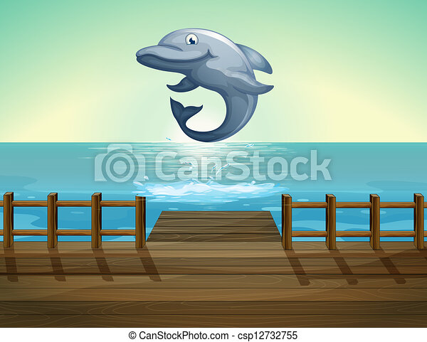 A jumping dolphin and sea port - csp12732755