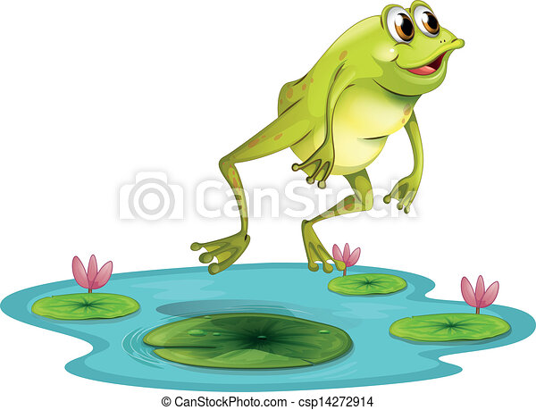 illustration of a jumping frog at the pond on a white vector clip rh canstockphoto com cartoon jumping frog clipart jumping frog clipart black and white
