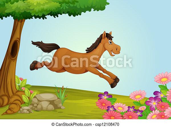 A jumping horse - csp12108470