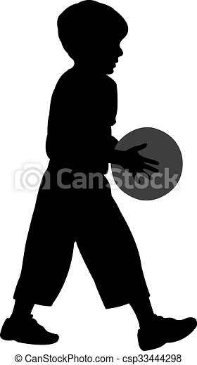 a kid body with ball, silhouette  - csp33444298