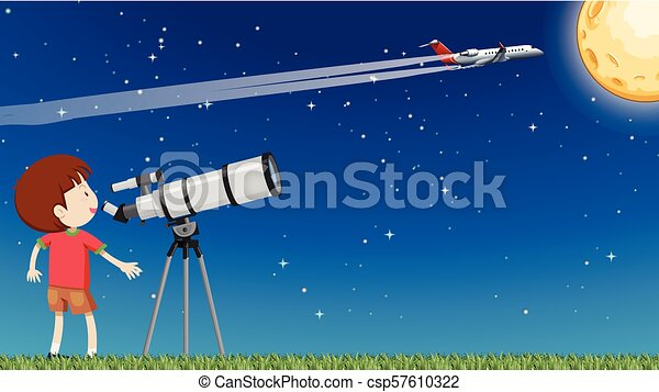 A Kid Looking at the Moon with Telescope - csp57610322
