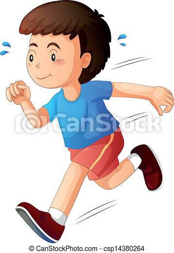 a kid running illustration of a kid running on a white background rh canstockphoto com boy running clipart black and white boy running clipart images