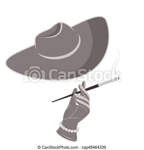 A lady in a hat and gloves smokes a cigarette. - csp48464339