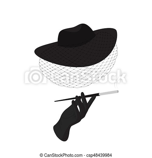 A lady in a hat with a veil and a cigarette - csp48439984