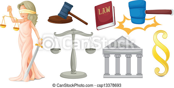 A lady with the symbols for justice - csp13378693