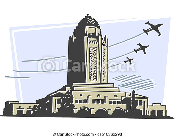A Large Art Deco Type Building With Planes Flying In The Background Stock Illustration