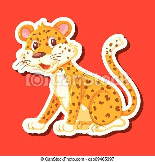 A leopard character sticker - csp69465397