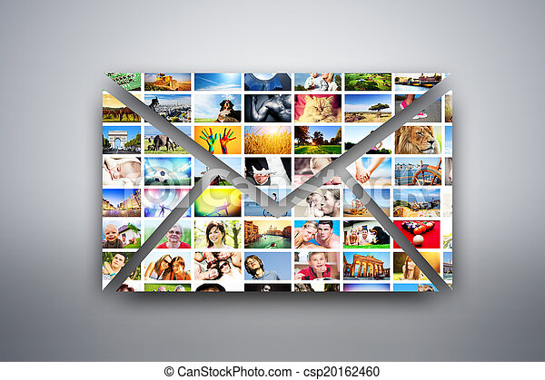 A letter, e-mail design element made of pictures of people, animals and places - csp20162460