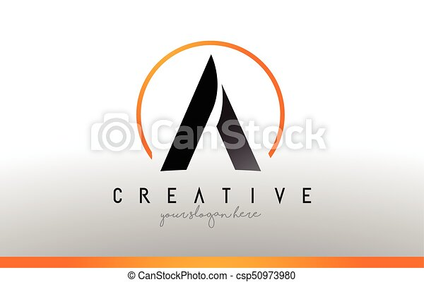a letter logo design with black orange color cool modern icon template csp50973980