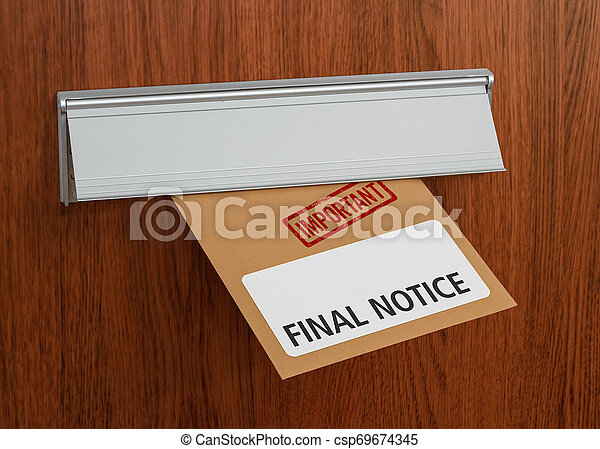 A letter with the label Final notice - csp69674345