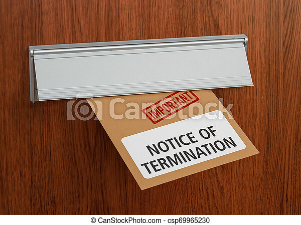 A letter with the label Notice of termination - csp69965230