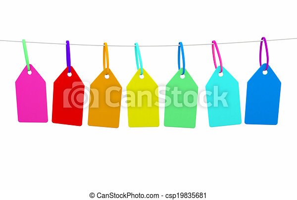 a line of bunting with blank tags ready for messgae - csp19835681