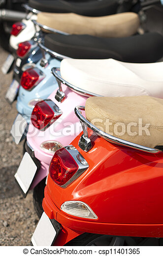 A line of mopeds/scooters - csp11401365