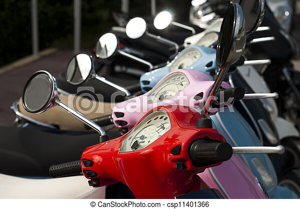 A line of mopeds/scooters - csp11401366