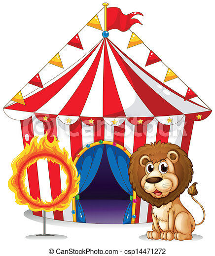 A lion and a ring of fire at the carnival - csp14471272