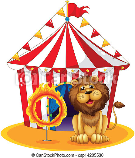 A lion beside a fire hoop at the circus - csp14205530
