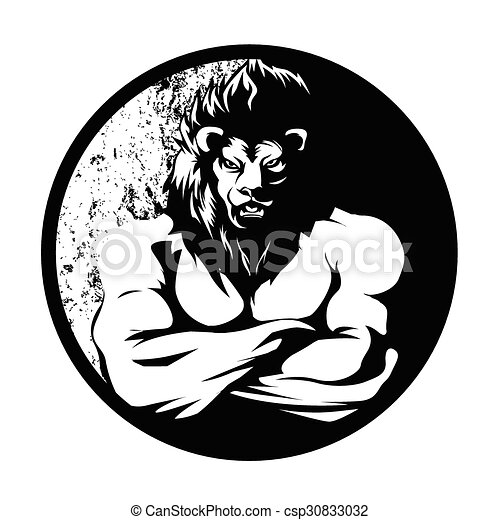 A lion man  fighter black and white - csp30833032