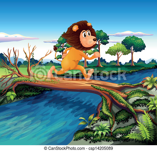 A lion running while crossing the river - csp14205089