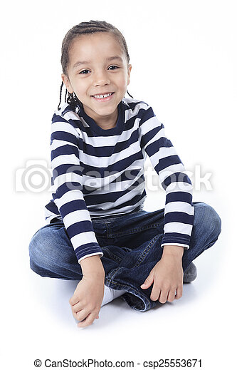 A Little african american boy, isolated on white background - csp25553671