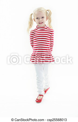 A Little blond girl isolated on white background - csp25568013