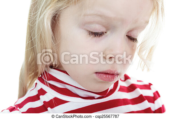 A Little blond girl isolated on white background - csp25567787