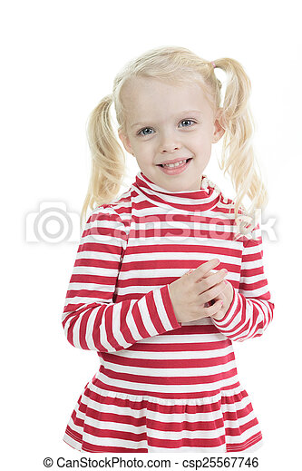 A Little blond girl isolated on white background - csp25567746