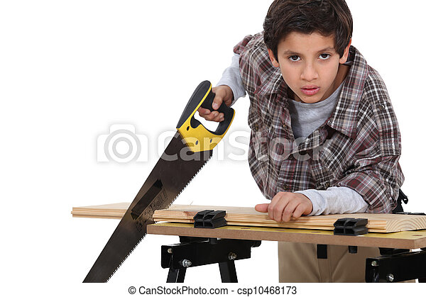 A little boy carpenter. - csp10468173