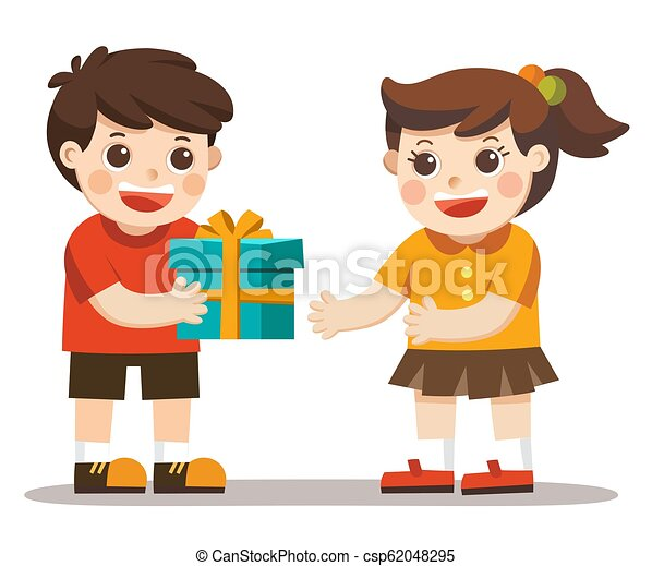 A Little Boy Giving Girl Birthday Gift Box Kid Hand Over Holiday Present