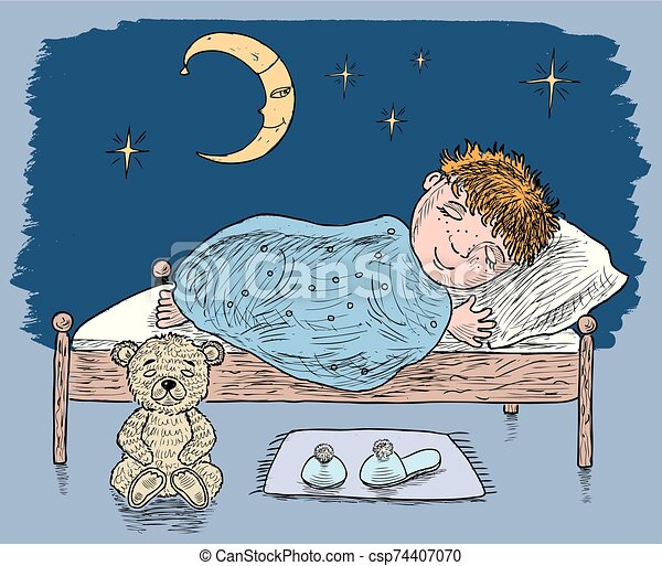 A little boy is sleeping in his bed - csp74407070