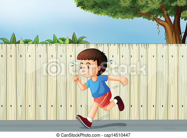 A little boy running at the road - csp14510447