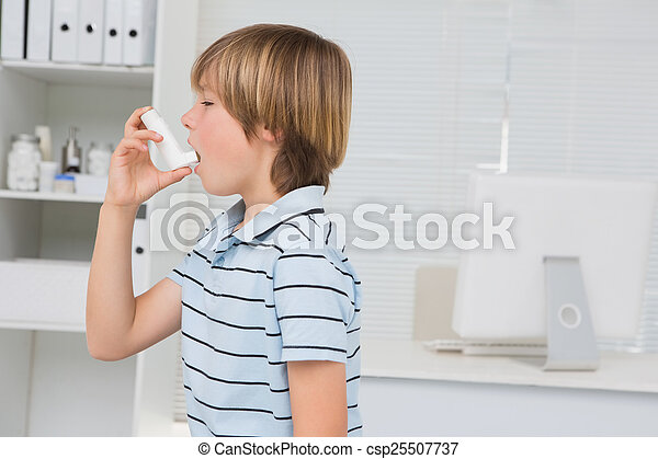 A little boy using inhaler  - csp25507737
