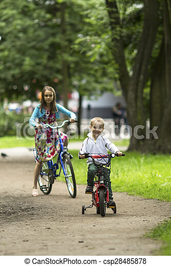 A little boy with his sister - csp28485878